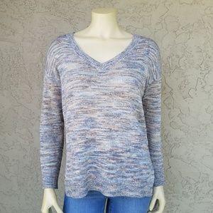 Michael Stars Marled Thin Knit V-Neck Sweater
